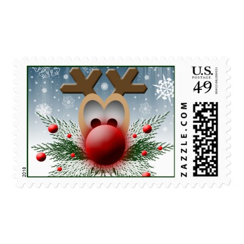 So It Glows Reindeer Christmas Holiday Xmas Postage