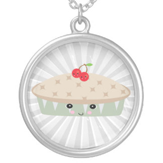 so kawaii cherry pie round pendant necklace
