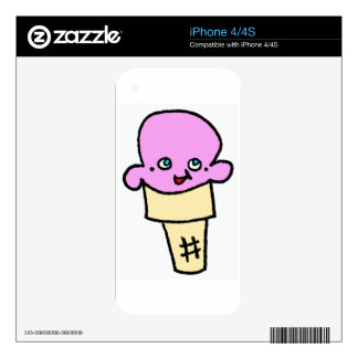 So Kawaii ice cream cone strawberry with face Decals For The iPhone 4S
