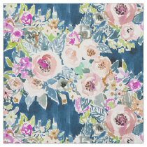 SO LUSCIOUS Colorful Navy Boho Floral Pattern Fabric