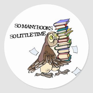 So Many Books Classic Round Sticker