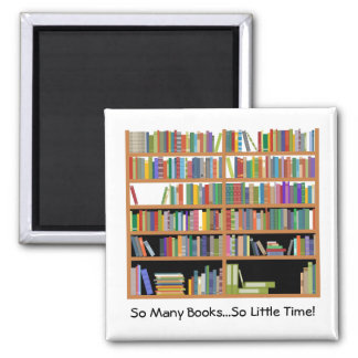 So Many Books (customizable) 2 Inch Square Magnet