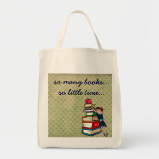 so many books, so little time girl with books grocery tote bag