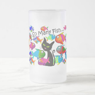 """So Many Fish"" Cat Lovers Gifts Frosted Glass Beer Mug"