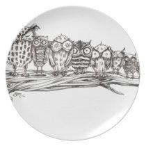 So Many Owls Melamine Plate