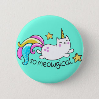 So Meowgical Cute Unicorn kitty glitter sparkles Button