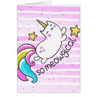 So Meowgical Cute Unicorn kitty glitter sparkles Card