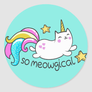 So Meowgical Cute Unicorn kitty glitter sparkles Classic Round Sticker