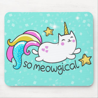 So Meowgical Cute Unicorn kitty glitter sparkles Mouse Pad