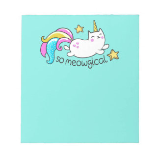 So Meowgical Cute Unicorn kitty glitter sparkles Notepad
