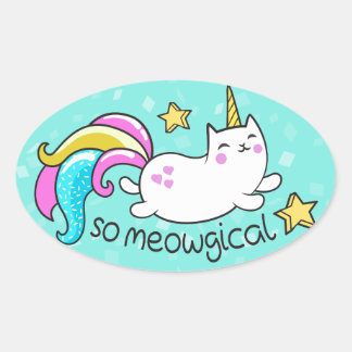 So Meowgical Cute Unicorn kitty glitter sparkles Oval Sticker