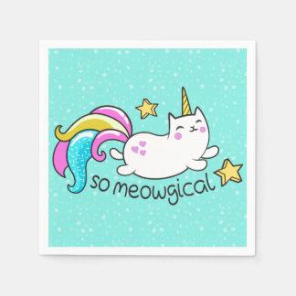 So Meowgical Cute Unicorn kitty glitter sparkles Paper Napkin