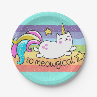 So Meowgical Cute Unicorn kitty glitter sparkles Paper Plate