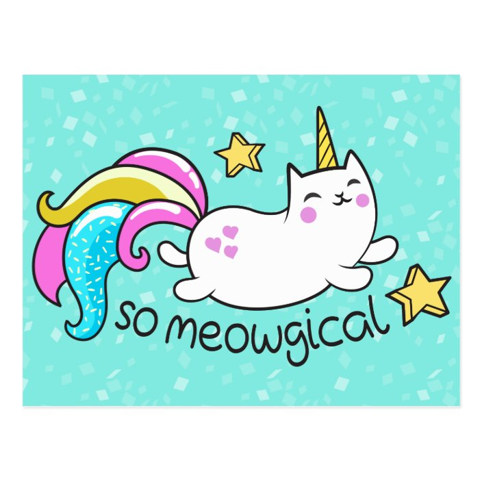So Meowgical Cute Unicorn Kitty Glitter Sparkles Postcard Zazzle Com