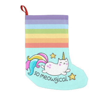 So Meowgical Cute Unicorn kitty glitter sparkles Small Christmas Stocking