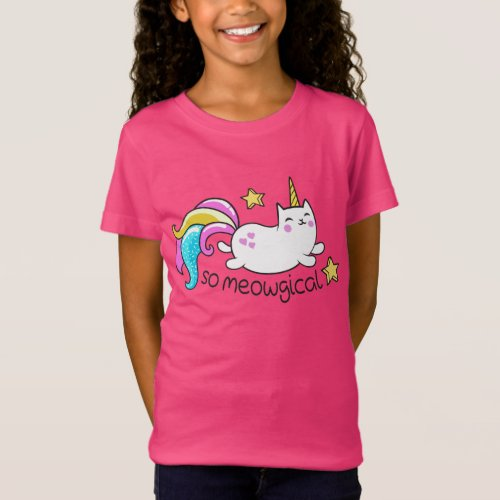 So Meowgical Cute Unicorn kitty glitter sparkles T_Shirt