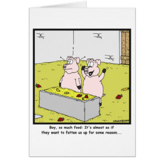 So much food: Pig cartoon Greeting Card