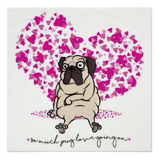 So Much Pug Love Going On Grumpy Pug Valentine Poster