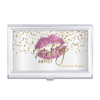 So Pink Glitter Lips and Gold Confetti Business Card Holder