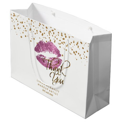 So Pink Glitter Lipstick on White - Thank You Large Gift Bag