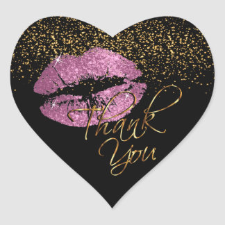 So Pink Gold Glitter Lipcolor - Thank You Heart Sticker