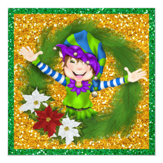 "So Precious! Christmas Elf Card .... SRF 5.25"" Square Invitation Card"