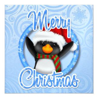 "So Precious! Christmas Penguin Card .... SRF 5.25"" Square Invitation Card"