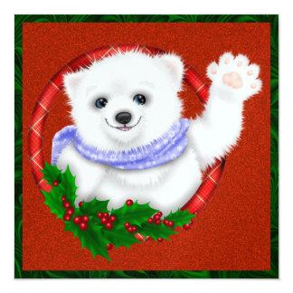 "So Precious! Christmas Polar Bear Card .... SRF 5.25"" Square Invitation Card"