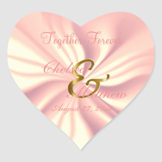 So Rosey Satin for your Wedding   Personalize Heart Sticker
