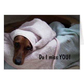 SO SAD PUPPY MISSES YOU GREETING CARD