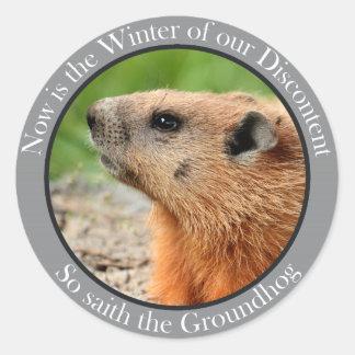 So saith the groundhog classic round sticker