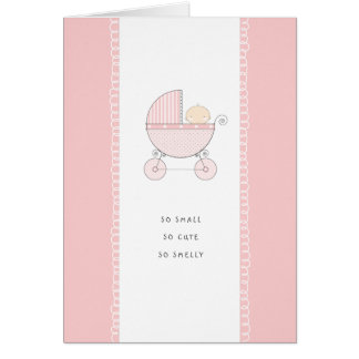 So Small, So Cute New Baby Congrats | Pink Girl Greeting Card