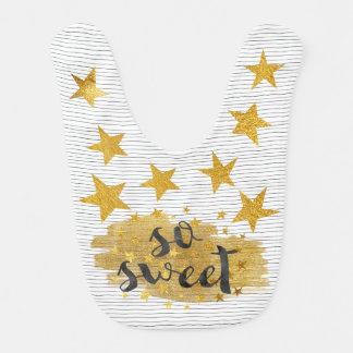 So Sweet Hollywood Star Shiny  Gold Baby Bib