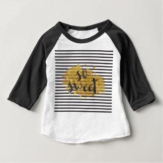 So sweet Modern Black White Stripes golden shiny Baby T-Shirt