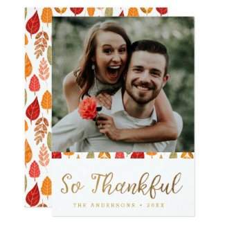 So Thankful Thanksgiving Typography Card