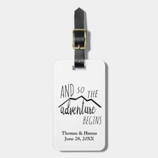 So The Adventure Begins Rustic Mountain Wedding Bag Tag
