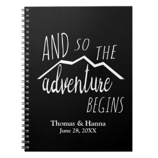 So The Adventure Begins Rustic Mountain Wedding Spiral Notebook