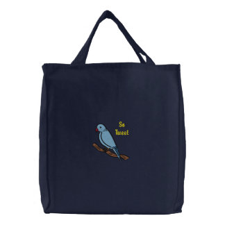 So Tweet So Sweet Blue Bird on Branch Embroidered Embroidered Tote Bag