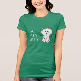 SO VERY MERRY! Bichon Frise Christmas Lights Tee Shirt