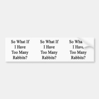 So What If I Have Too Many Rabbits Car Bumper Sticker