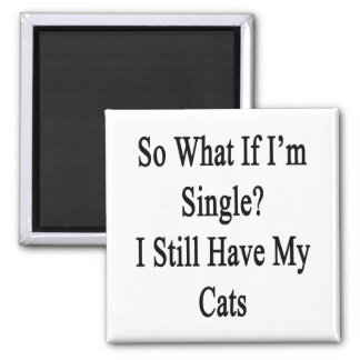 So What If I'm Single I Still Have My Cats 2 Inch Square Magnet