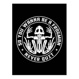 "So You Wanna Be A Frogman ""Never Quit"" Patch Postcard"