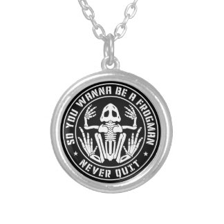 """So You Wanna Be A Frogman """"Never Quit"""" Patch Silver Plated Necklace"""
