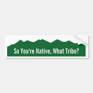 So You're Native, What Tribe? Bumper Sticker