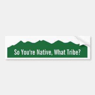 So You're Native, What Tribe? Car Bumper Sticker