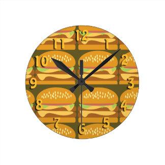So Yummy Cheeseburger Time Round Clock
