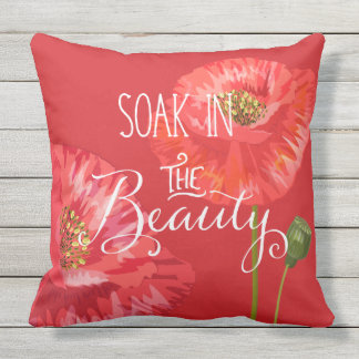 Soak in the Beauty Red Poppies with Yellow Throw Pillow