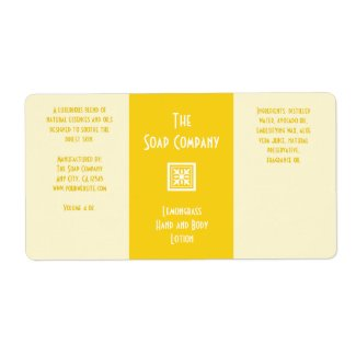 Soap and Bath Products Label - Lemongrass Yellow
