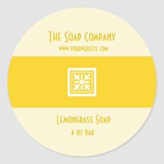 Soap and Bath Products Label - Lemongrass Yellow Classic Round Sticker