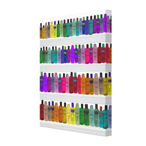 Soap Bottle Rainbow - for bathrooms, salons etc Stretched Canvas Prints